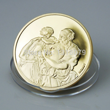 hot selling best quality cheap custom golded planted coin, Michelangelo Antique coin