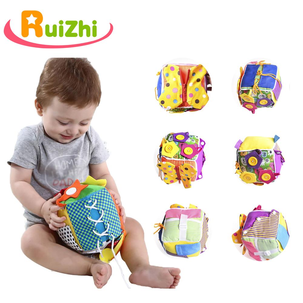 Ruizhi Baby Early Educational Toy Learning Zipper Dress Up Montessori Toy Cube Stuffed Creative Cute Gift Toddler Toys RZ1039
