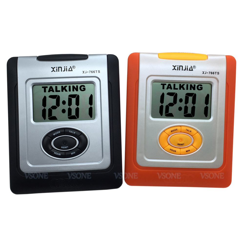 Spanish Talking LCD Digital Alarm Clock For Blind Or Low Vision, Orange Color Or Black Color
