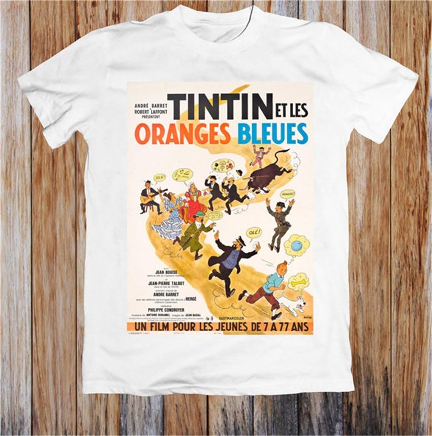 Tintin Et Les Oranges Bleues 1960's Retro Movie Poster Unisex TShirt Brand Shirts Jeans Print Classic Full-figured T Shirt