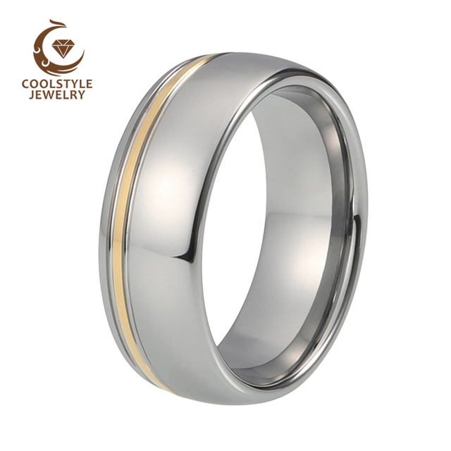 8mm yellow gold tungsten carbide wedding ring double offset lines polished shiny comfort fit - Tungsten Carbide Wedding Rings