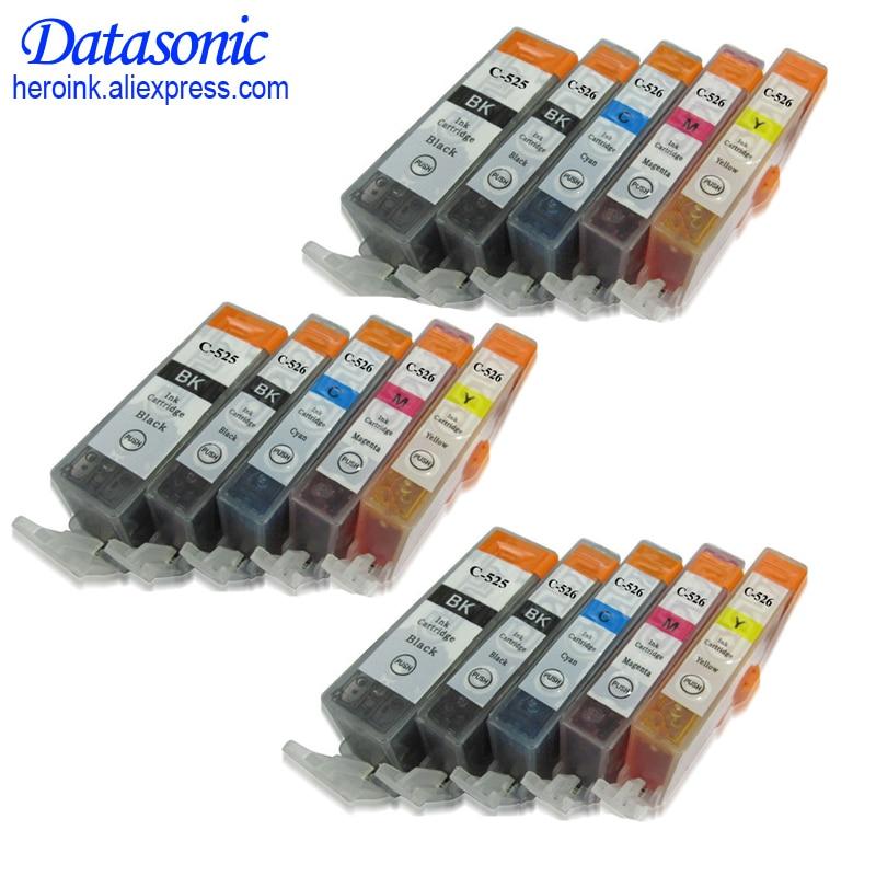 15 PCS For Canon PGI 525 CLI 526 Ink Cartridge For Canon PIXMA IP4850 IP4950 IX6550 MG5150 MG5250 MG5350 Pgi-525 Cli-526