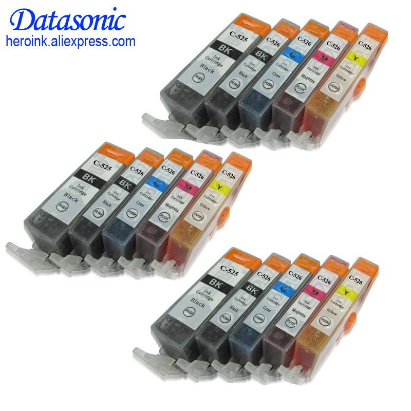 15 PCS For Canon PGI 525 CLI 526 Ink Cartridge For Canon PIXMA IP4850 IP4950 IX6550 MG5150 MG5250 MG5350 pgi-525 cli-526 картридж revcol pgi 525 cli 526 для canon mg8150