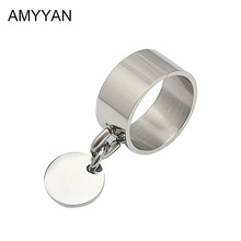 Stainless steel engravable jewelery wide knuckle ring with round blank charm custom name logo personalized engraved ring band