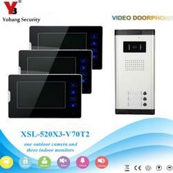 """YobangSecurity 7 """"квартиры видеодомофон дверной звонок Системы ИК Камера Touch ключ для 3 семей"""