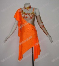 NEW Rumba Jive Chacha Latin Dance Dress,tango,salsa,samba,dance dress, latin dance wear,cha-cha ,Sunflower Dance Dress,ORANGE
