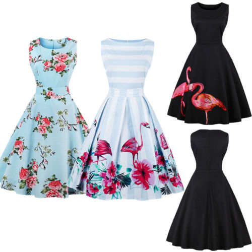 4468ce92b837f New 50s 60s Swing Vintage Retro Party Dress Women Housewife Rockabilly  Sleeveless Floral Flamingos Dresses Summer Lady Sundress