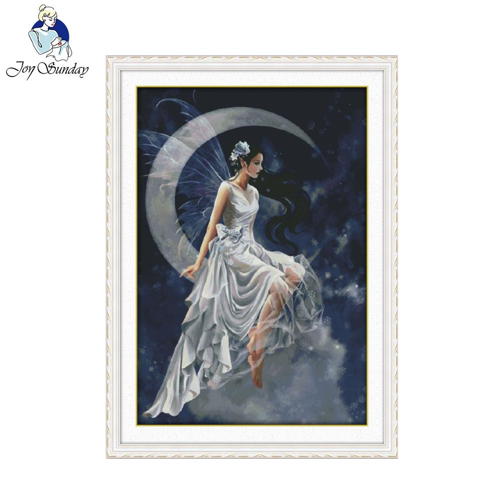 Joy Sunday Figure Style The moon fairy Counted 11CT Printed Fabric 14CT Canvas Cross Stitch for