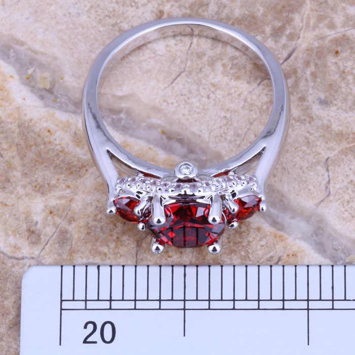 ผิดปกติสีแดงโกเมนสีขาวCZเงินแฟชั่นสตรีแหวนขนาด6/7/8/9 E185