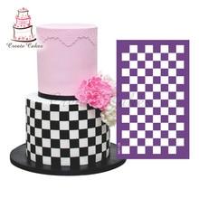 Square Lattice Design Cake Stencil Mesh Stencils For Wedding Cake Border Stencils Fondant Mould Cake Decorating Tool Cake Mold