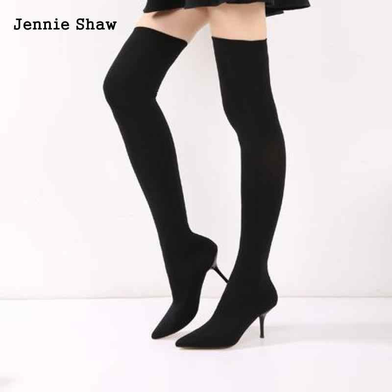 269f0f3bba74 Модные сапоги выше колена, эластичные тканевые чулки, женские высокие сапоги  на высоком каблуке,
