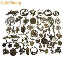 Джули Wang 10 шт случайно смешанных с рисунками птиц и животных узором из цветов и листьев подвеска под бронзу, старину серебро Цепочки и ожерелья браслета ювелирных изделий Аксессуар