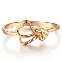 New Fashion Women Ring Girl Lady Jewelry 100% 18K Gold Trendy Fancy Hollow Heart Rose Gold Color Finger Ring Size 5 18
