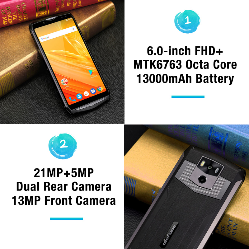 "Ulefone Power 5 13000mAh 4G Smartphone 6.0"" FHD MTK6763 Octa Core Android 8.1 6GB+64GB 21MP Wireless Charge Fingprint Face ID"
