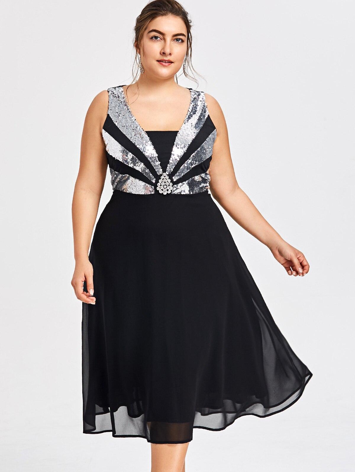 AZULINA Plus Size Glittery Flowy Party Dress Women Sequined Sleeveless Party  Dress Robe Elegant Chiffon Dresses Vestido Big Size-in Dresses from Women s  ... 722c2408d84c