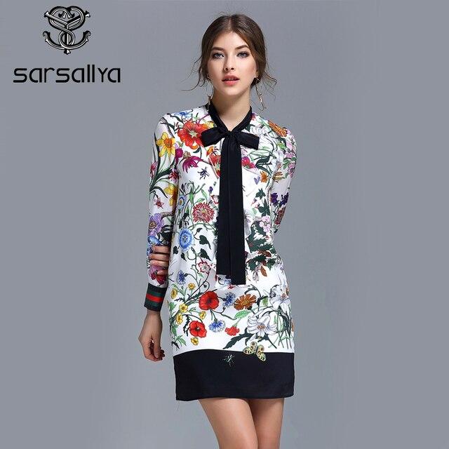 SARSALLYA Прибытие Мода Короткими Рукавами Dress, Women Dress Печатных, Новый Дизайн Изящные 100% Silk Dress For Ladies