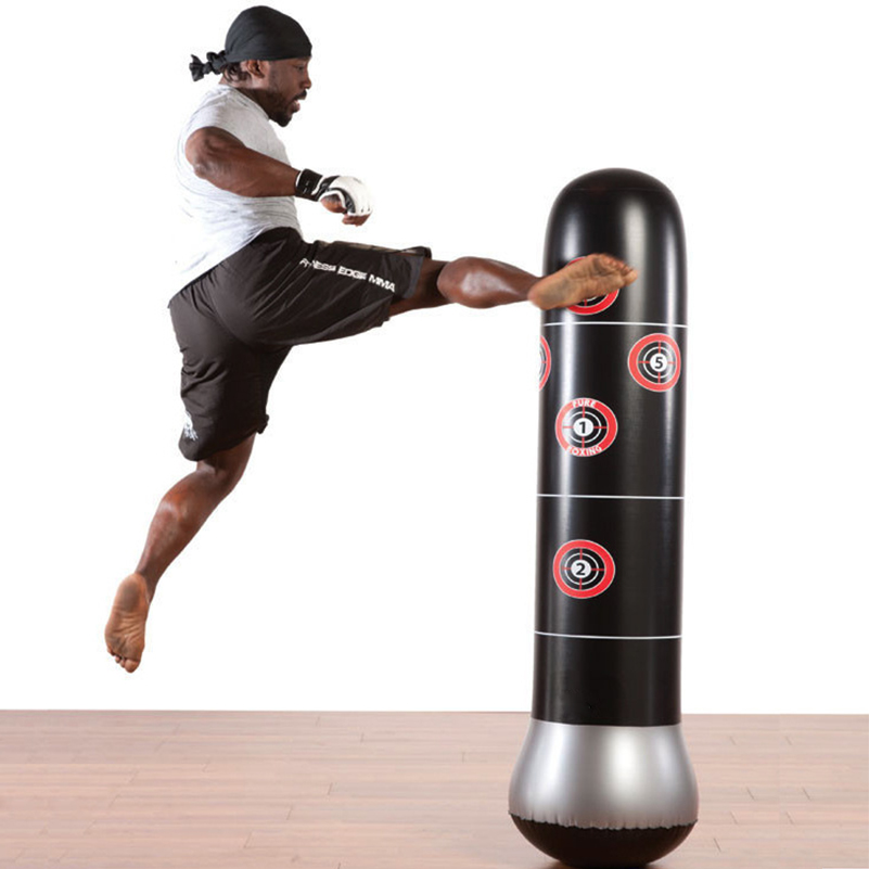 160cm Boxing Punching Bag Inflatable Free-Stand Tumbler Muay Thai Training Pressure Relief Bounce Back Sandbag with Air Pump silver wings silver wings 31mc0198 38 44