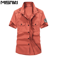 MISNIKI summer men short sleeve shirts casual military cotton dress shirts S-3XL JPCS05