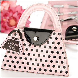 wedding bridal shower favors and giveaways for guest Pink Polka Dot Purse Manicure Set party favor