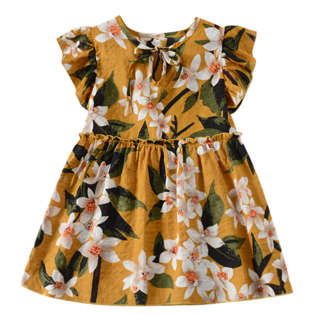 MUQGEW Toddler Baby Dress Kids Girls Clothes Fly Sleeve Ribbons Ruched Floral Dress For Girl Summer Beach Party Princess Dresses