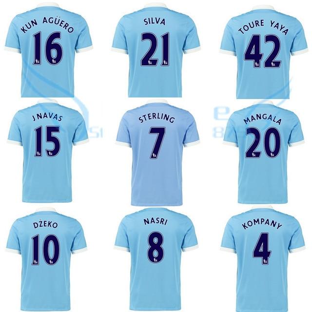Calidad tailandesa 15 16 Premier League jersey de futbol AGUERO STERLING  home camisa SILVA touré 2016 b7994978739fd