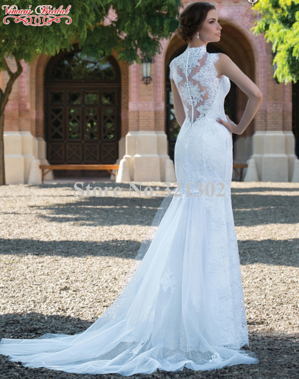0ea9256ab6a2a 2017 New Design Vintage Wedding Dress Liques Lace High Neck