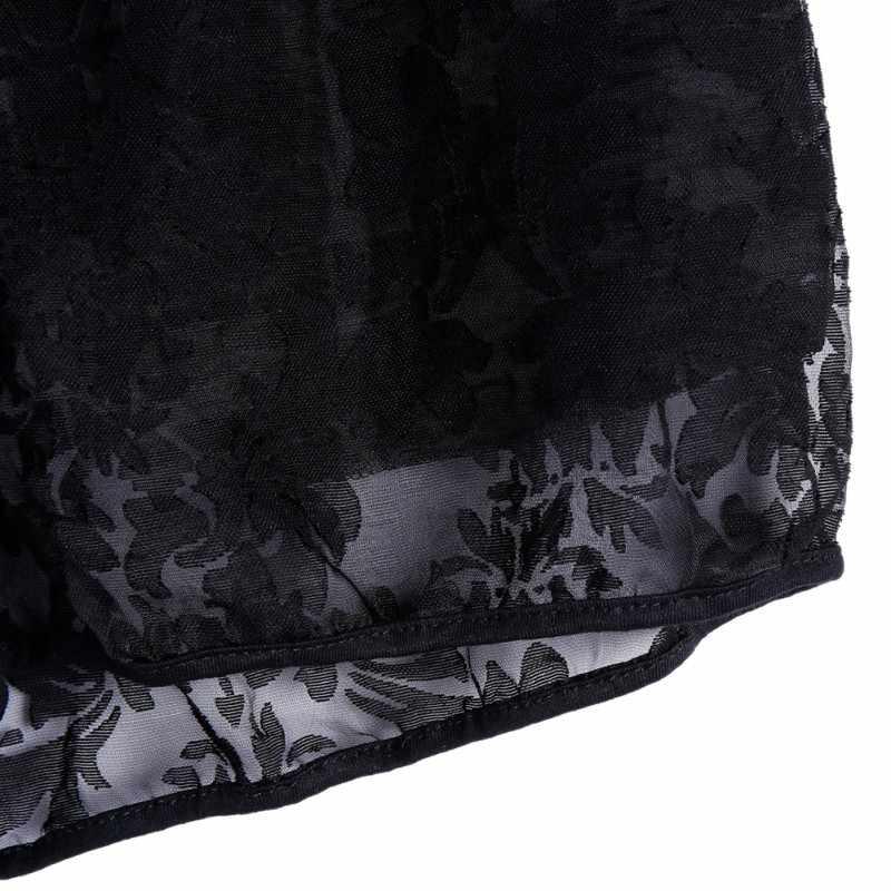 Sexy koronki Hollow Out spodenki damskie sznurkiem kieszeń wysokie do talii elastyczne szorty lato kobiety Hot krótkie spodnie na co dzień Femme czarny biały