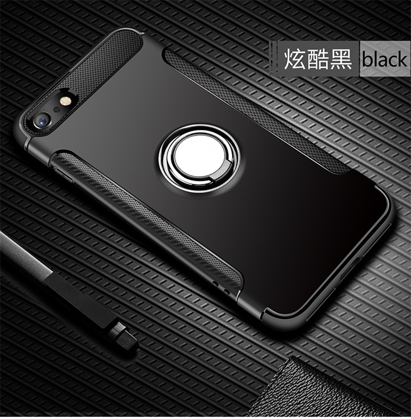 Silicone Edge Hard Back Standing Cover Case With Magnetic Ring for iPhone Models 14