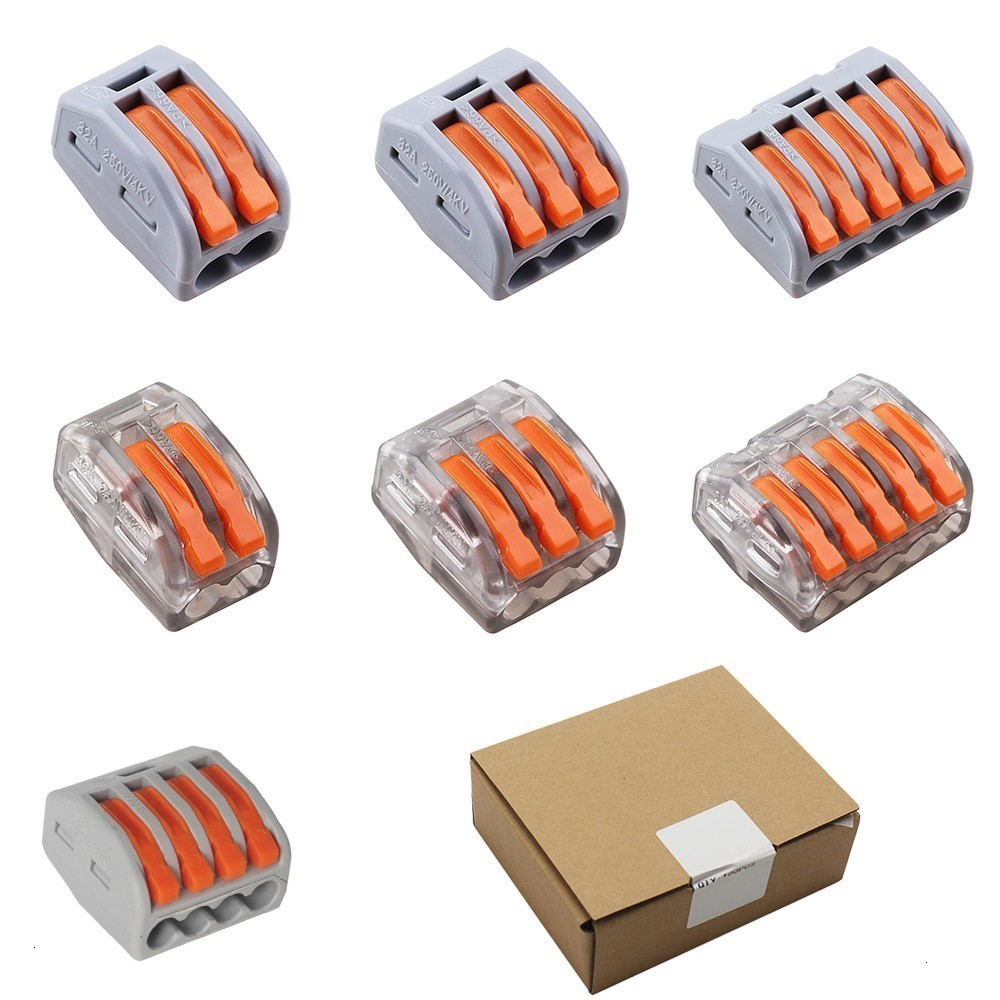 (100PCS/BOX) Wago Connector Wire Connectors Universal Compact Wiring Terminal Block,Mini Fast Connector Push-in Conductor eglo connector box 91207