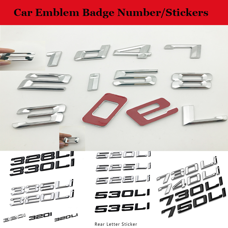 3D ABS New Number Word Car Emblem Badge DIY 0/1/ 2 /3 /4 /5 /6/ 7 /8 /i /L/ d For BMW Car Body Stickers Auto Displacement label