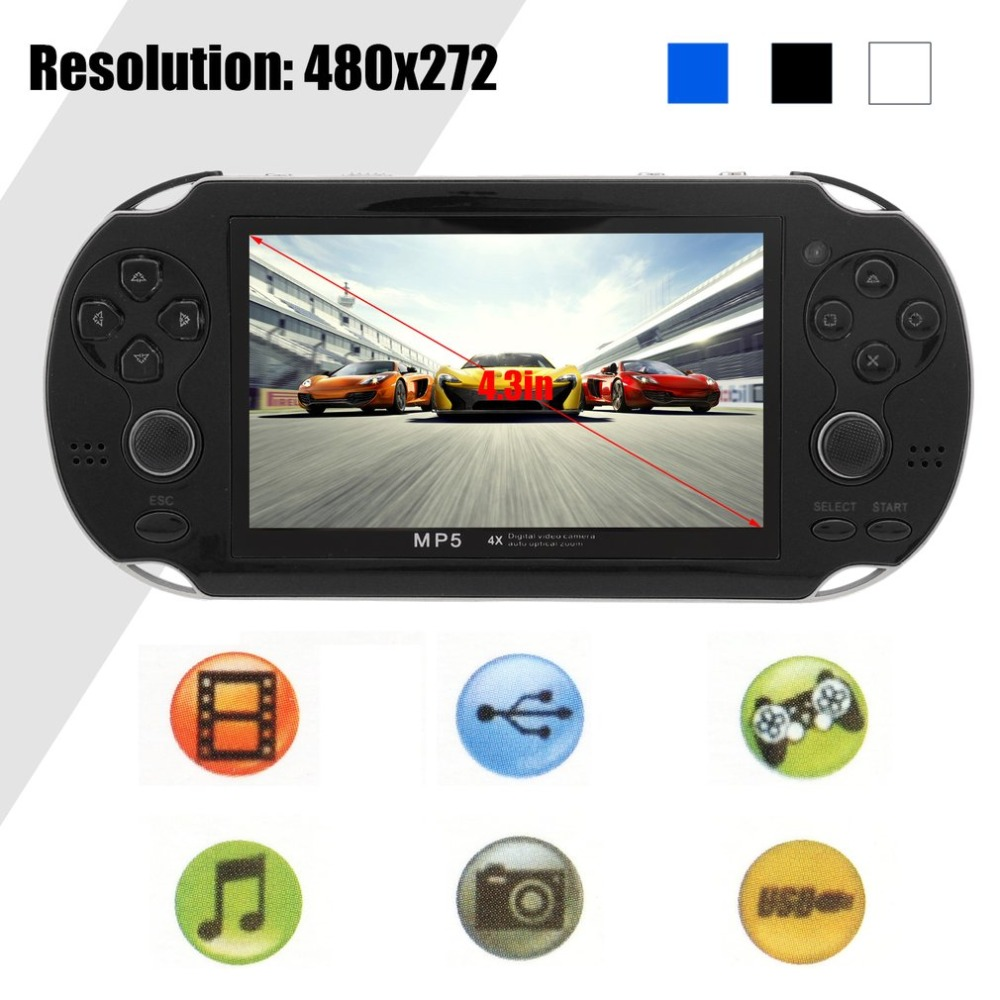 Portable 8GB Handheld Video Console 4.3 Inch Classic Game Players Built-In 200 Games 16 Bit Game Console Player portable 3 inch 16 bit handheld game console black and blue
