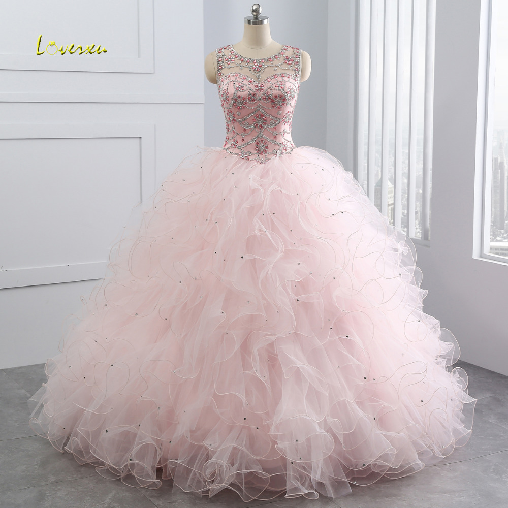 Loverxu Scoop Neck Vintage Ruffles Ball Gown Quinceanera Gown 2018 Beaded Sequined Organza Debutante Dress For 15 Year Plus Size