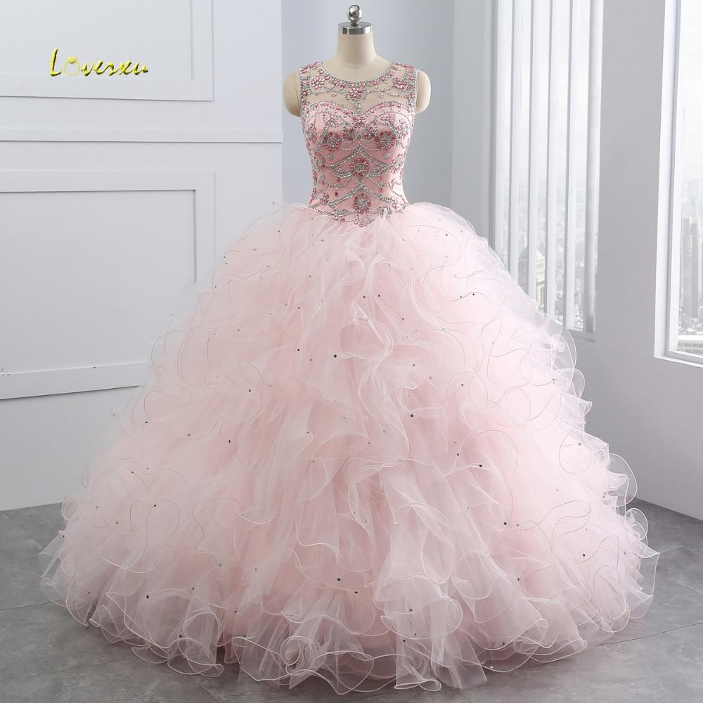 Loverxu encolure dégagée Vintage volants robe de bal Quinceanera robe 2019 perlée paillettes Organza Debutante robe pour 15 ans grande taille
