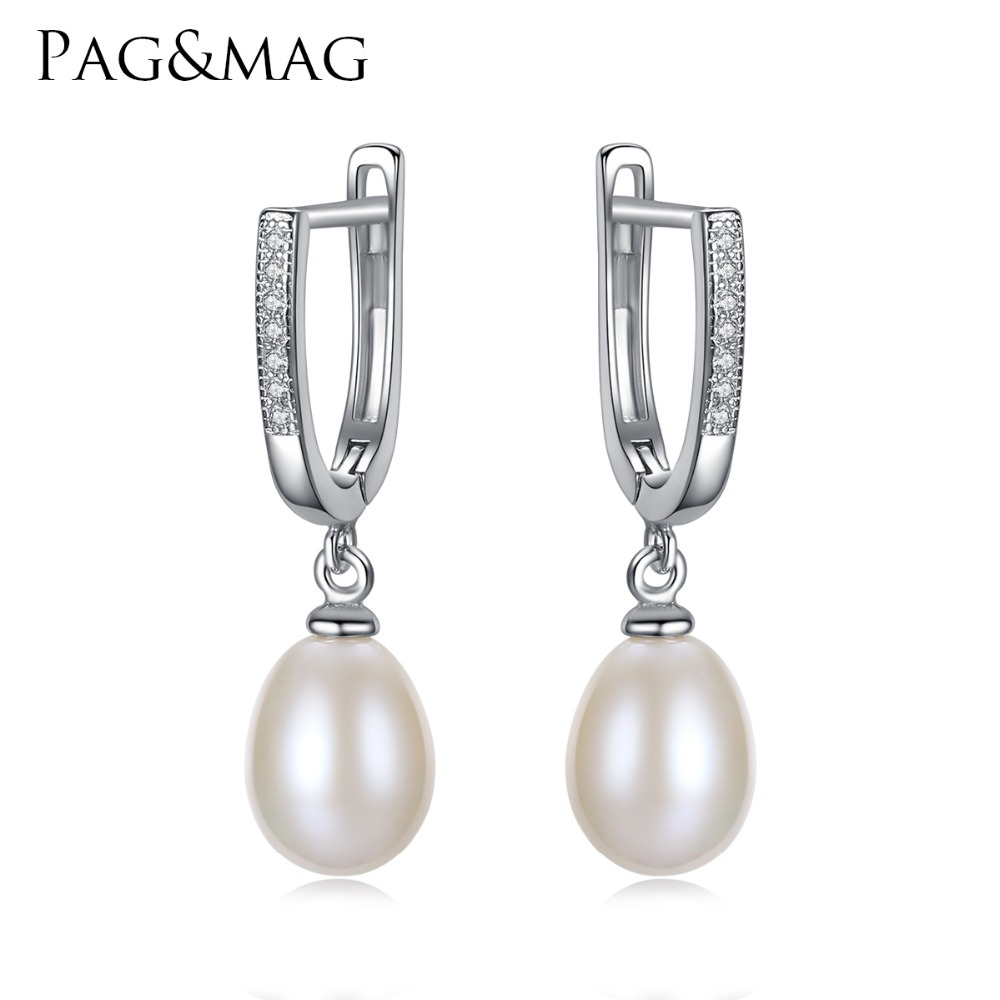 Pag Mag Brand Clic Style Freshwater Natural 8 9mm Drop Pearl Clip Earrings For Women 925