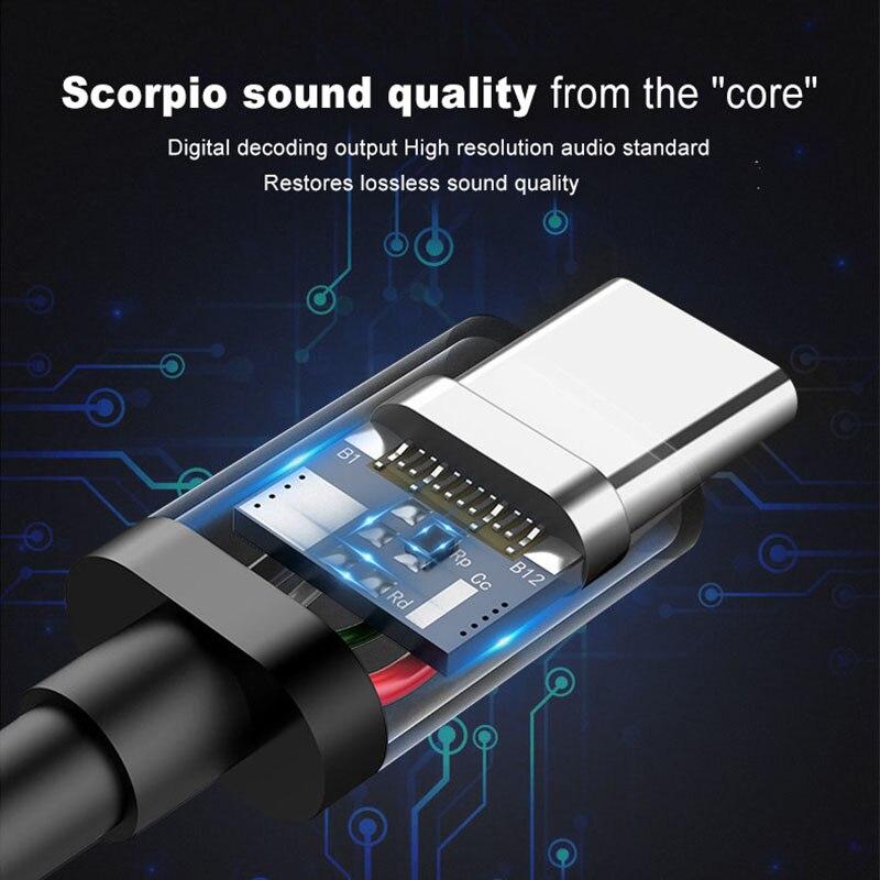 -Tipo C de Alta Fidelidade Fones De Ouvido fone de Ouvido Com Fio de Música Esportes Fone de Ouvido Fones de Ouvido fone de Ouvido Portátil 3.5mm Universal Pesado Baixo Microfone E6T 3