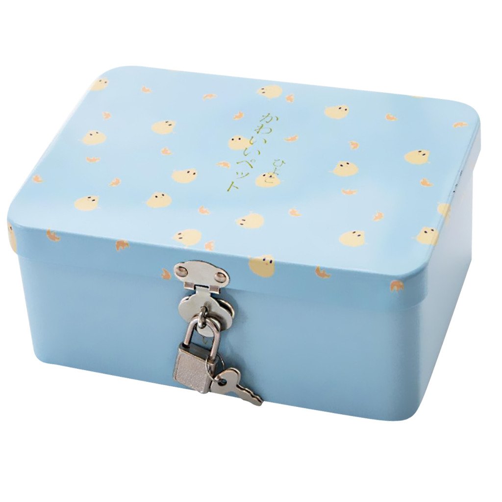 Tinplate Box With Lock Insurance Storage Box Desktop Organizer Cosmetics Box Case Gift For Home Decoration Cute Chicken Blue