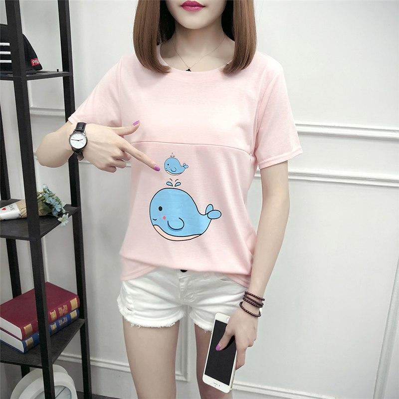 Summer new style nursing short-sleeved shirt cartoon fish printing loose T-shirt Korean fashion new maternity clothes