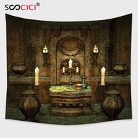 Cutom Tapestry Wall Hanging,Gothic House Decor A Room with Altar in Fantasy Style Spells Spirituality Pentagram Symbols