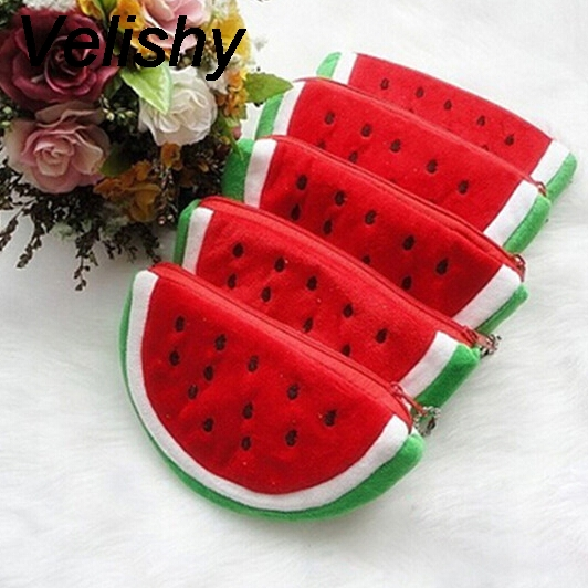 1pcs Plush Popular Coin Purses Big Volume Watermelon School Kids Pen Pencil Bag Case Red Watermelon Coin Bags Fruit Wallet red practical case volume watermelon kids pen pencil case gift cosmetics purse wallet holder pouch for student officer