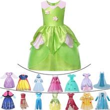 New Baby Belle Princess Dress Rapunzel Girls Anna Elsa Unicorn Party Gown Tinker Bell Cosplay Children Carnival Jasmine Costume