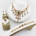Африка, Ювелирные Изделия Наборы Для Женщин Африканских Серьги капли воды Ожерелье Позолоченные Классический Кулон Свадебное Платье Аксессуары
