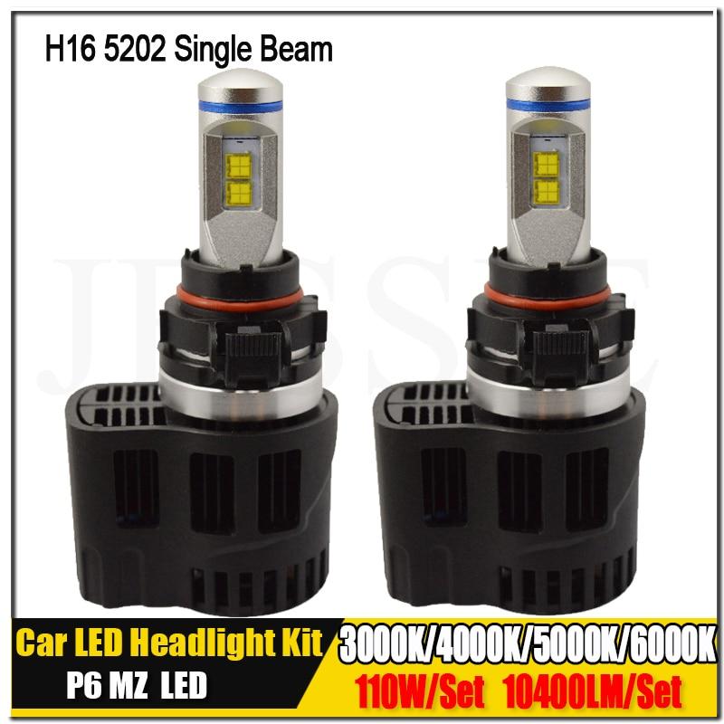 H16 5202 3000K 4000K 5000K 6000K Canbus P6 LumiLEDs LMZ 10400lm Car LED Headlight Bulb Fog Daytime Running Light Conversion Kit 2pcs new high quality zy p6 110w 10400lm led headlight kit conversion canbus bulbs 9004 9007 3000k 4000k 5000k 6000k