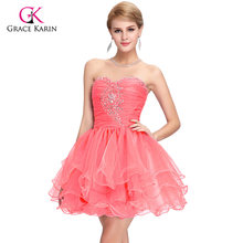 85cbbd5baca Cute Back to School Short Prom Dresses 2018 Grace Karin Sequins Homecoming  Ball Gown Pink Purple Puffy Dancing Party Dress 6077