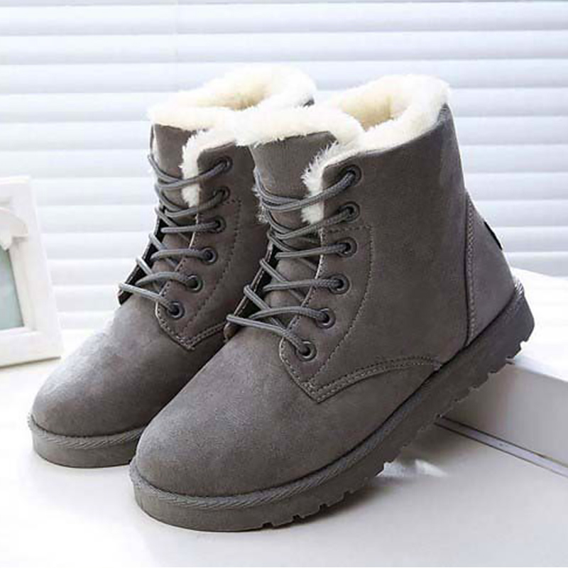 Women snow boots old skool round toe faux suede winter boots warm shoes woman solid wedges