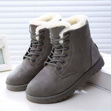 Women snow boots old skool round toe faux suede winter boots warm shoes woman solid wedges platform boot female shoes