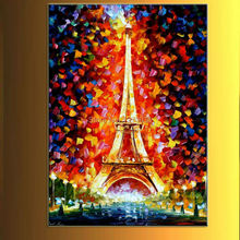 Eiffel Tower Square classic characters knife painting bright night of pure hand-painted decorative