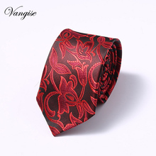 Paisley Red  Tie Fashion Silk Jacquard Woven Ties for Men Wedding And Birthday Neck 7.5 cm Mens Christmas Party Necktie