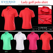 Lady Summer Polyster Brand Polo Shirts Quick Dry Golf Polo Golf T- shirts for Women with 4 colors High Quality Golf Apparel