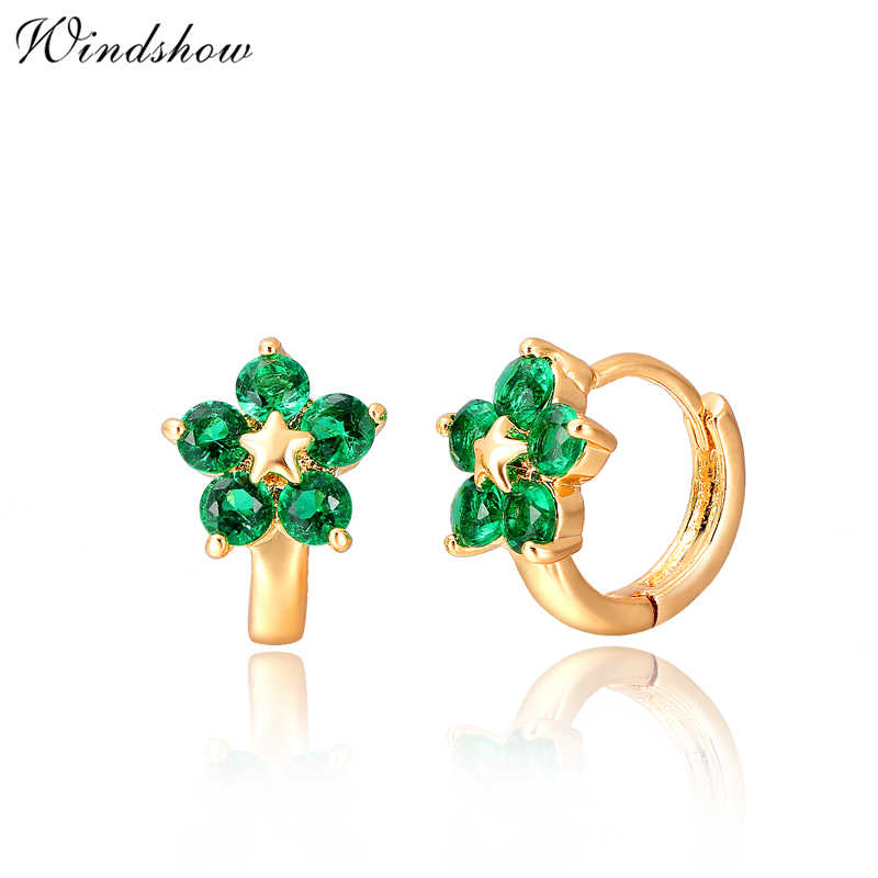 877197e4a3b2c Gold Color Star Five Round Green CZ Zircon Flower Small Circle ...