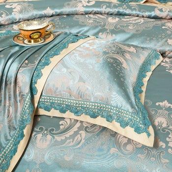 подушки с картинками | Синий Европейский жаккард шелковое постельное белье Смешанный хлопок Queen King Размер 4/6/7 шт пододеяльник плоский лист простыня, наволочка